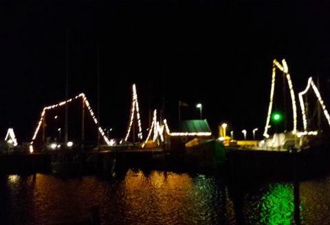 Smukt aftenbillede af havnen i Holbæk