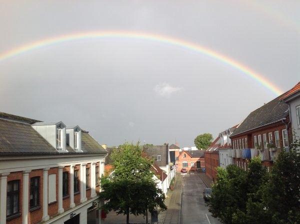 Regnbue over Holbæk Centrum