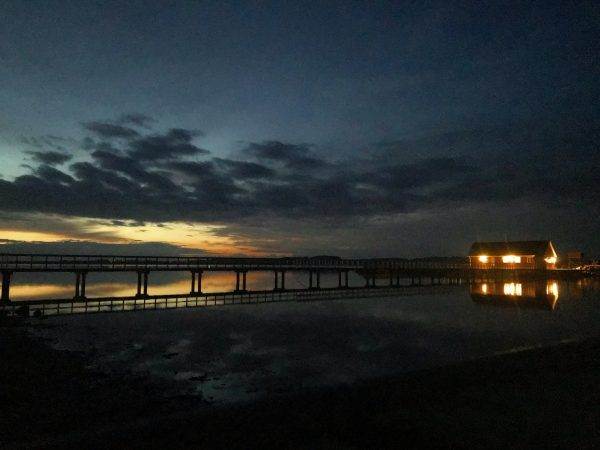 Solnedgang ved Søbadet